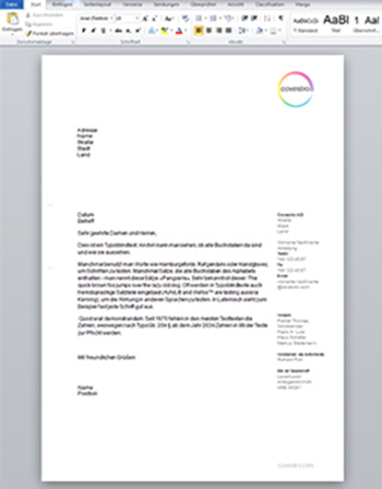 Microsoft Word Briefbogen-Template - Covestro