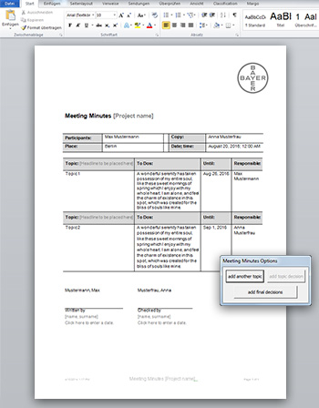 Microsoft Word Meeting-Minutes-Template - Bayer AG